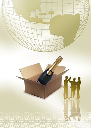 Business people standing in front of box, globe and Champagne bottle  photo