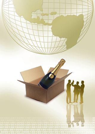 botella champagne: Gente de negocios de pie delante de la casilla, globo y botella de Champagne