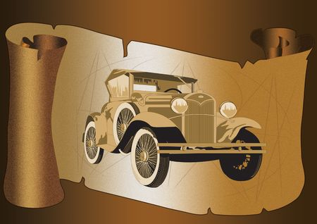 antique parchment paper as scroll with antique car on it with torn edges and shadow photo