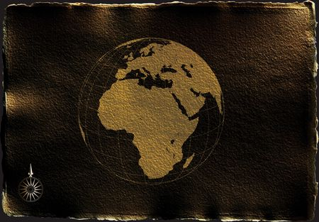 antique parchment like paper with globe on a white background with torn edges and shadow photo