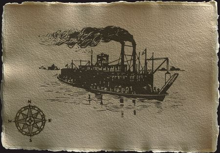 compas: antique parchment like paper Compas and ship on a dark background with torn edges and shadow
