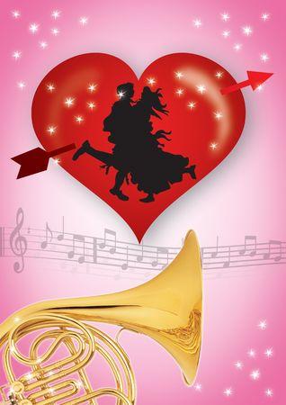 valentine cherub: abstract valentines background, heart with decorative swirls and banner