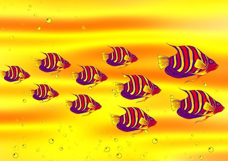 bold and colourful fish background in many colour Stock Photo - 1373432