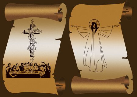 Old paper scroll on dark background. With cross and Jesus Christ photo