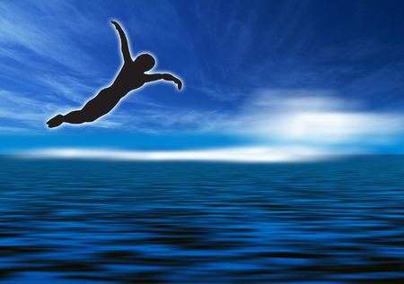 diving platform: silhouette of a man to dive, against a blue cloudy sky Stock Photo
