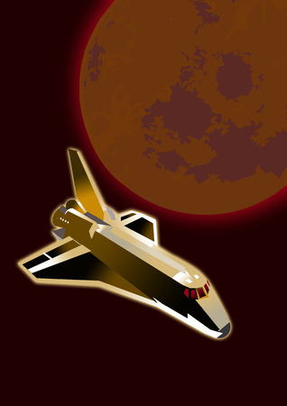gaia: Space shuttle flying towards earth a illustration