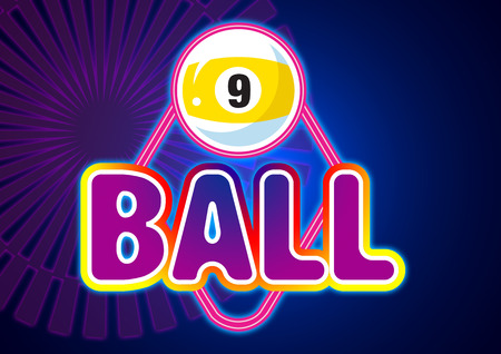 billiards room: Colorful billiard balls sign with (snooker) ball