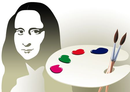 mona lisa: Wooden art palette with blobs of paint and a brush