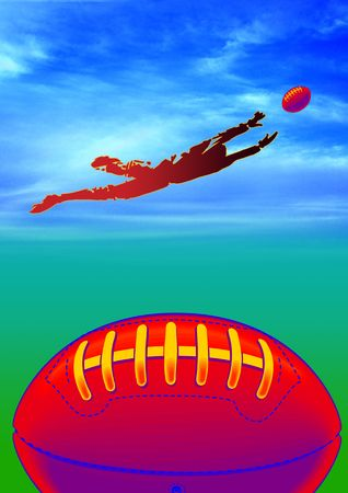 scramble: American football protective helmet and ball, with player. Stock Photo