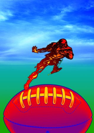 nfl helmet: American football protective helmet and ball, with player. Stock Photo