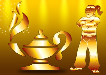 alladin: Aladdins Lamp with a genie-sized flame in gold