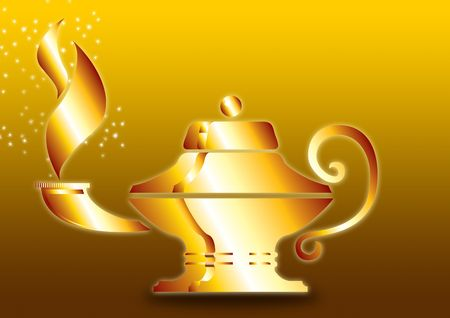 alladin: Aladdins Lamp with gold ground Stock Photo