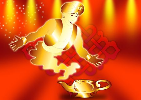 alladin: genie in red ground for poster Stock Photo