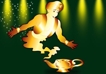 aladdin: Aladdins Lamp with a genie in green Stock Photo