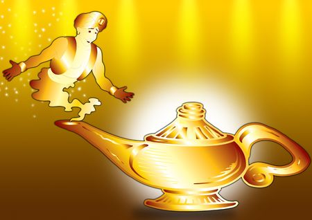 Aladdin's Lamp with a genie in gold Stock Photo - 2158281