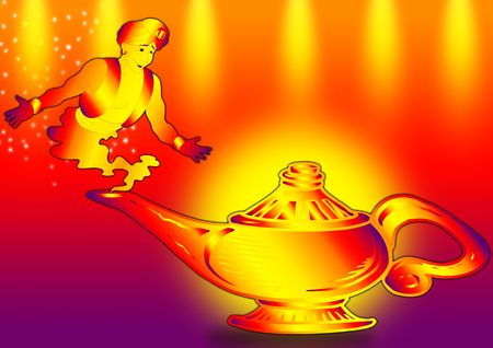 Aladdins Lamp with a genie in color full ground