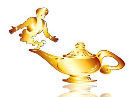 Aladdins Lamp with a genie on white ground