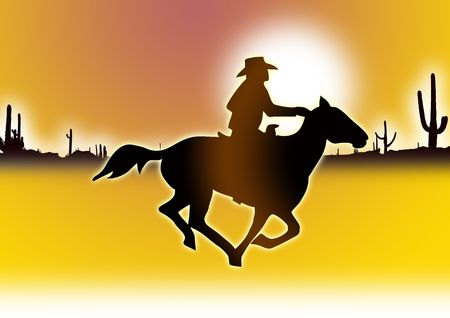 rounder: Cowboy with horseback leading out into the desert.