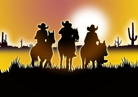 leading: three Cowboys on horseback leading out into the desert for poster Stock Photo