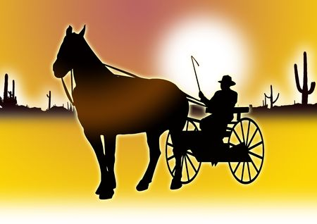 rounder: Cowboy on horse cart leading out into the desert for poster