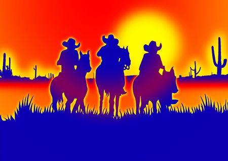 leading: three Cowboys on horseback leading out into the red desert for poster