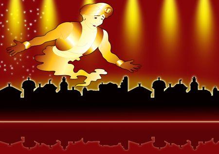 Aladdins genie on red city Stock Photo