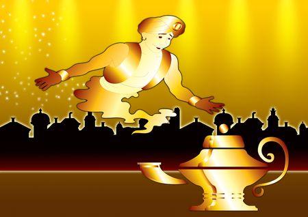 lampara magica: Aladdin's Lamp con un genio de la ciudad