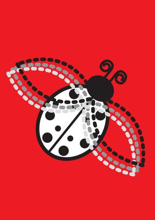 harmless: Ladybug isolated over red background for poster