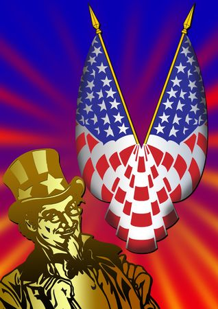 vertica: Uncle Sam in the classic I Want You pose as poster in color