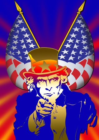 Uncle Sam in the classic I Want You pose as poster Stock Photo - 2247401