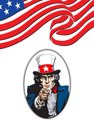 armed services: Uncle Sam in the classic I Want You pose with flag on back in white Stock Photo