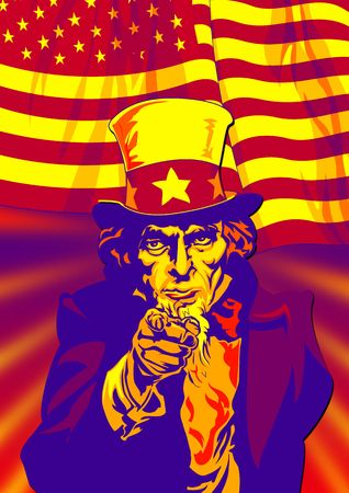 selfless: Uncle Sam in the classic I Want You pose with flag on back in red Stock Photo