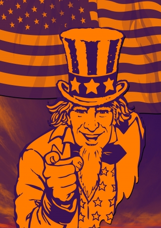 Uncle Sam in the classic I Want You pose with flag on back for poster Stock Photo - 2247404