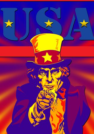 vertica: Uncle Sam in the classic I Want You pose with flag on back with usa Stock Photo