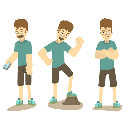 angry boy: Boy standing in different poses. Illustration