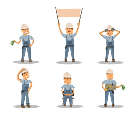 Construction worker with a box with a banner, a cup of coffee with the money covering the face with his hands, with money, with the premise Векторная Иллюстрация