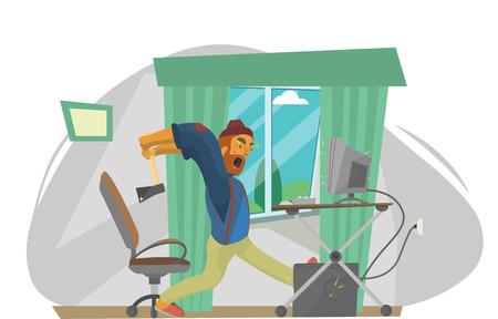 broken computer: Man Lumberjack cuts a sharp ax broken computer