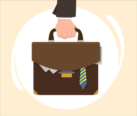 full metal jacket: Mans hand holding the hand of a leather suitcase, from which protrude documents and tie Illustration