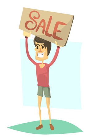 aloft: Smiling boy in a red T-shirt and green shorts holding aloft a banner with sale sign
