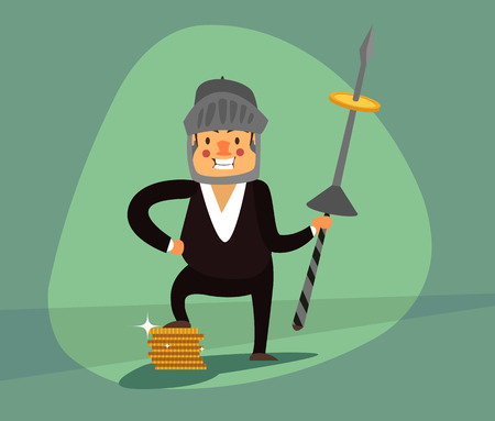 spearman: Smiling businessman with a spear and a helmet protects your income, gold coins. Green background. Illustration