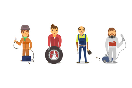 blue collar: workers Car, Car painter with a spray gun, a mechanic with a car wheel , mechanic with a wrench, a welder in the mask with the welding device. Illustration