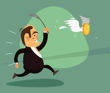 Smiling businessman in a suit chasing a fly swatter for that coin from him on the wings trying to fly