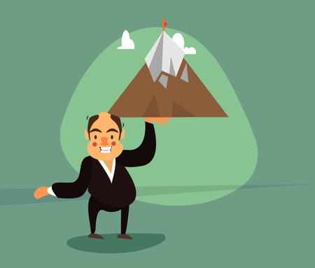 attainment: smiling businessman in a tuxedo raises one hand the mountain on top of which is checked.