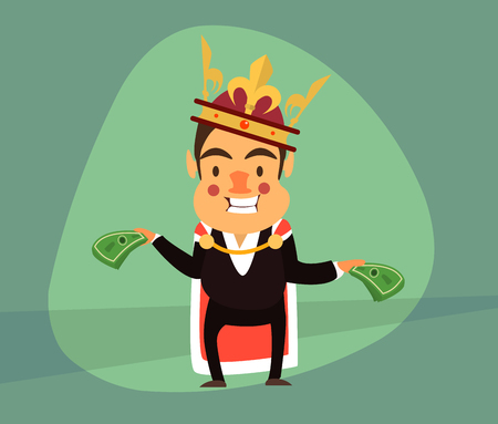guise: smiling businessman in the guise of the king and the royal crown holding Dollar. Illustration