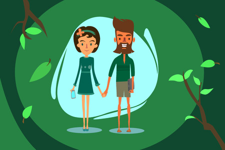 girl laptop: The bearded boy in shorts, with the laptop holding the hand of the girl in a dress with a mobile phone Illustration