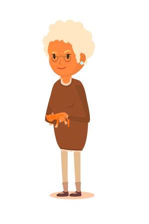 grannie: The elderly woman, a grandmother, with white hair in a brown dress, holds a red cat in hands