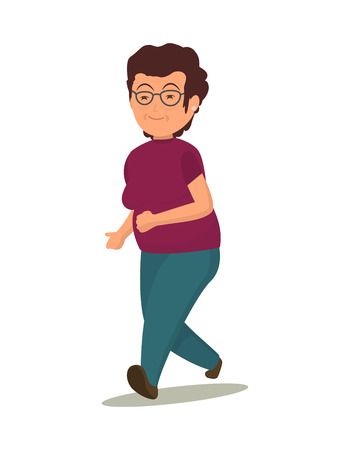 jog: Grandmother in a purple shirt and green trousers performs a jog.