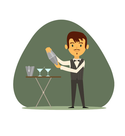waistcoat: The bartender mixes a waistcoat cocktail shaker to pour it into glasses standing on the table.Vector illustration. EPS 10 Illustration