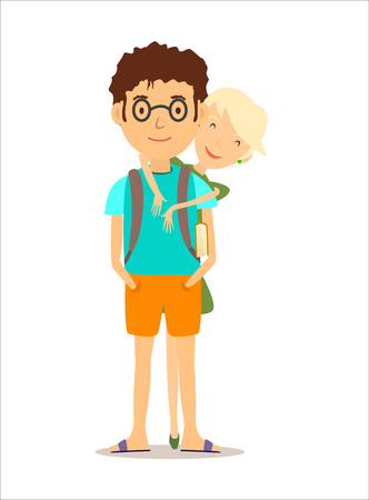 guy standing: Blond girl in a green dress standing behind a guy with glasses and hugs him. Hugging and smiling Illustration