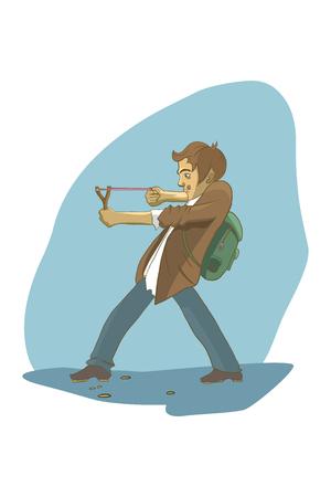 hellion: Boy shoots a slingshot. Illustration on a blue background.